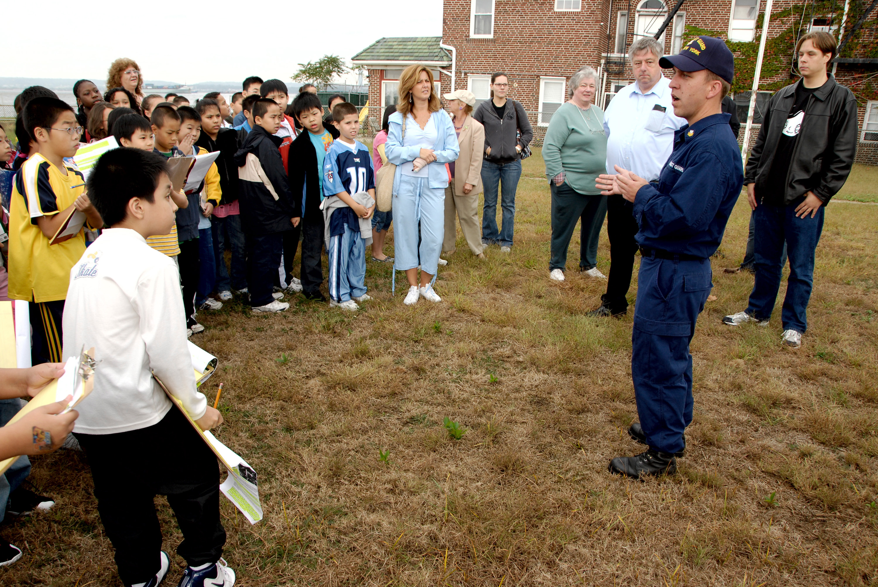 Coast Guard member speaking to public