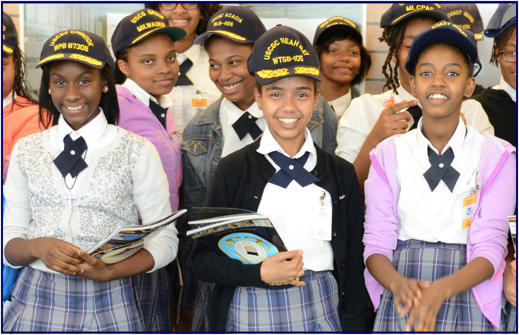Coast Guard personnel, students, and educators posing at various Partnership In Education locations