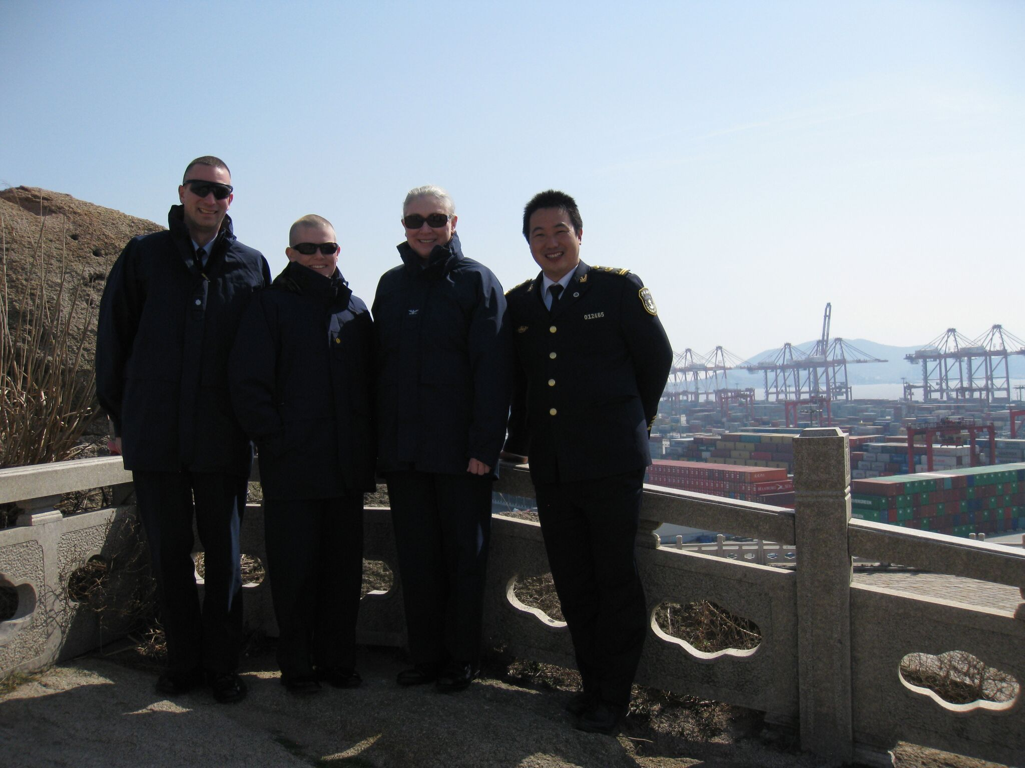 Team Evergreen at Shanghai port